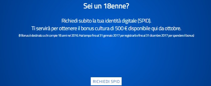 Bonus 500 euro ai 18enni, 'impossibile ottenere credenziali necessarie per usarlo'