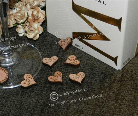 personalised mini wood hearts confetti table decorations