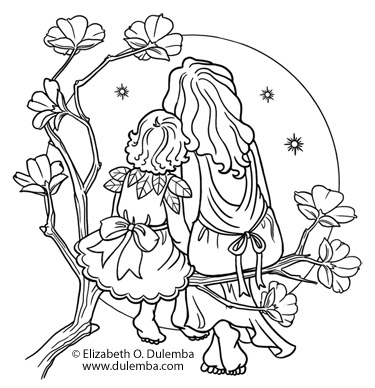 coloring pages mom and kids - photo#47