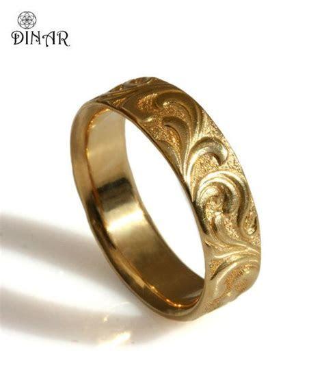 Scrolls Wedding ring, Textured Vintage wide Wedding Band