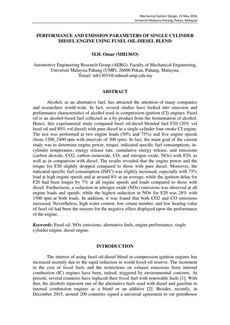(PDF) PERFORMANCE AND EMISSION PARAMETERS OF SINGLE