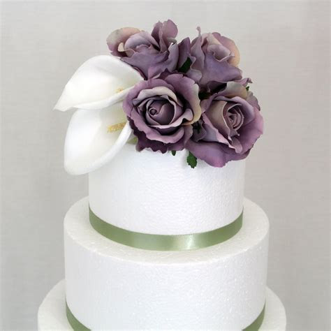 Wedding Cake Topper   Calla Lily, Ivory, Lavender Rose