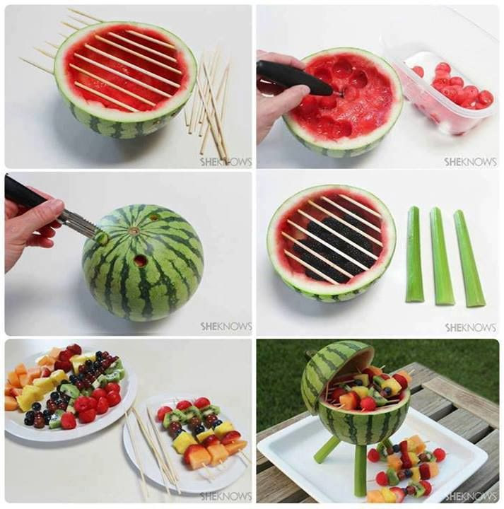 How to make super cute watermelon BBQ grill fruit skewers step by step DIY tutorial instructions, How to, how to do, diy instructions, crafts, do it yourself, diy website, art project ideas