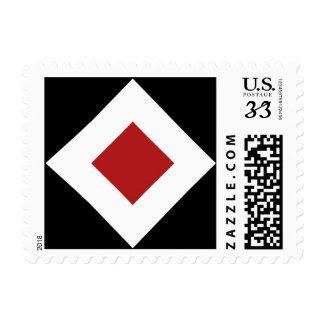 Black, White, Red Diamond Pattern Postage
