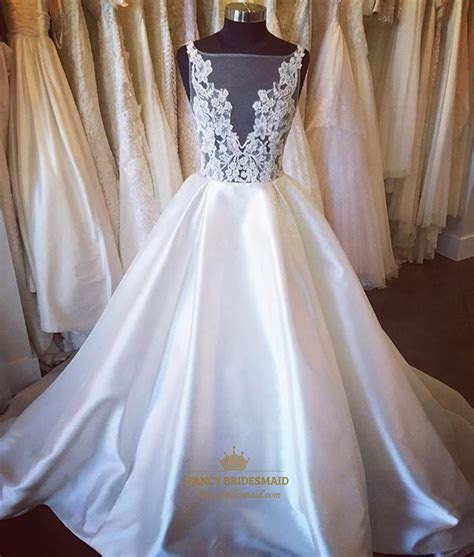 Ivory V Neck Sheer Lace Applique Ball Gown Wedding Dress