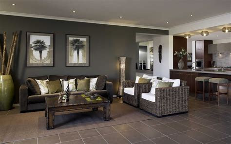 dark brown tiles dark feature wall living area lounge room