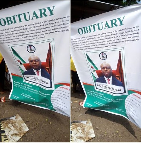 Obituary And 'Burial' Of Saraki By Senator Omo-Agege's Constituency (Photos)