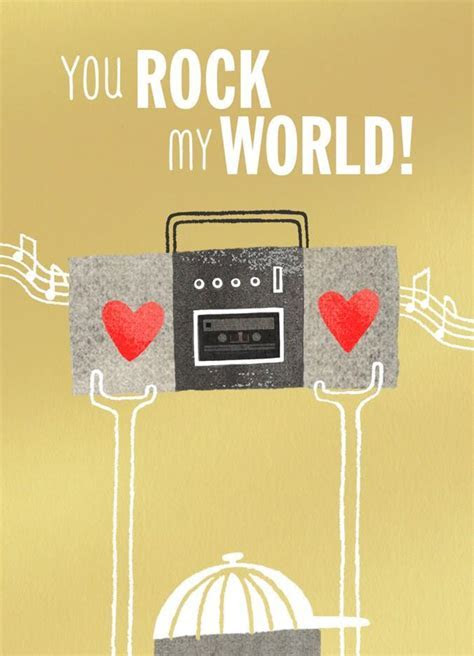 You Rock My World Blank Valentine's Day Card   Greeting