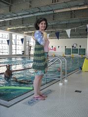 green bag at the pool