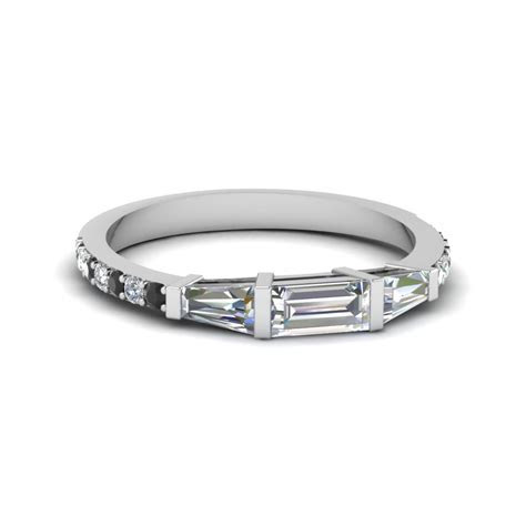 3 Stone Baguette Emerald Cut Engagement Ring With Black