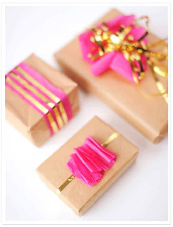 hot pink holiday gift wrap