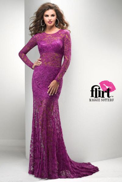 Lace evening dress long