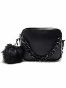 Black Zipper Fur PU Chain Bag