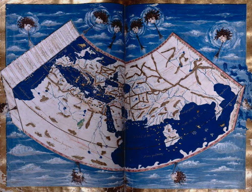 magictransistor:  Florentine Manuscript Copy of Ptolemy's Geography. Europe, Africa, the Mediterranean, Asia. 1400s.