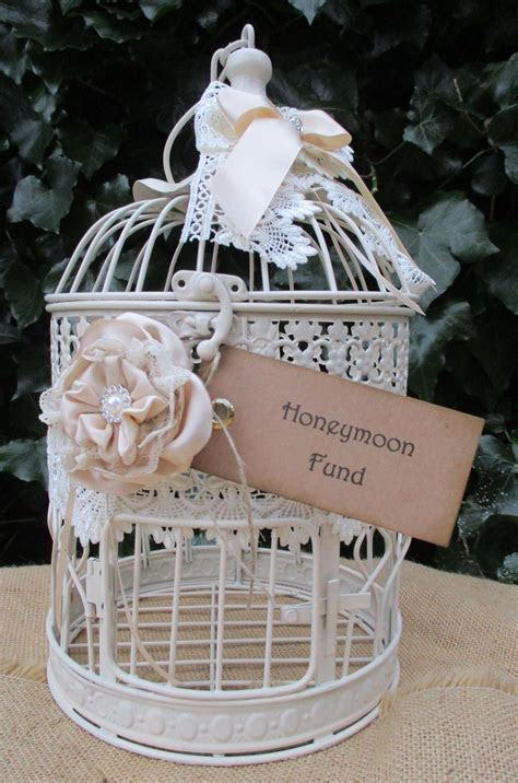 Birdcage Wedding Card Post Box Honeymoon Fund Round