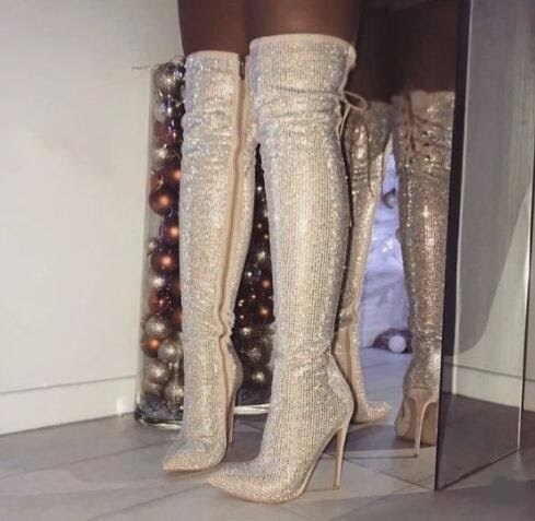 Womens Cow Leather Embellished Rhinestone Crystal Covered Knee High Slouch Boots