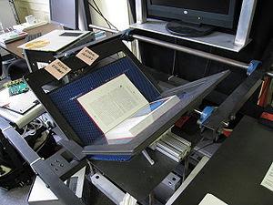 A book scanner at the Internet Archive headqua...
