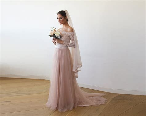 Pink Off The Shoulder Lace and Tulle Train Wedding Gown