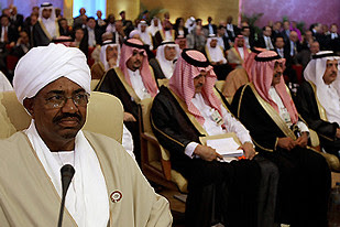President Omar Hassan al-Bashir of Sudan attending the Arab League Summit in Doha, Qatar on March 30, 2009. The Arab League has rejected the ICC warrant against President al-Bashir as hypocritical. by Pan-African News Wire File Photos