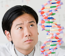 scientist studying a DNA chain