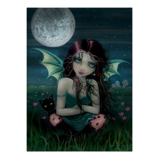 Ominously Sweet Vampire Fairy and Cat Poster print