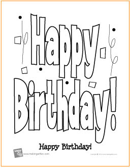 happy birthday  free printable coloring page