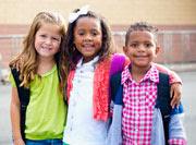 Diverse Children Going to Elementary school.