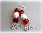 God Made Me Beautiful Red Spiritual Earrings