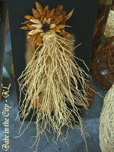 Wall hanging crafted with roots