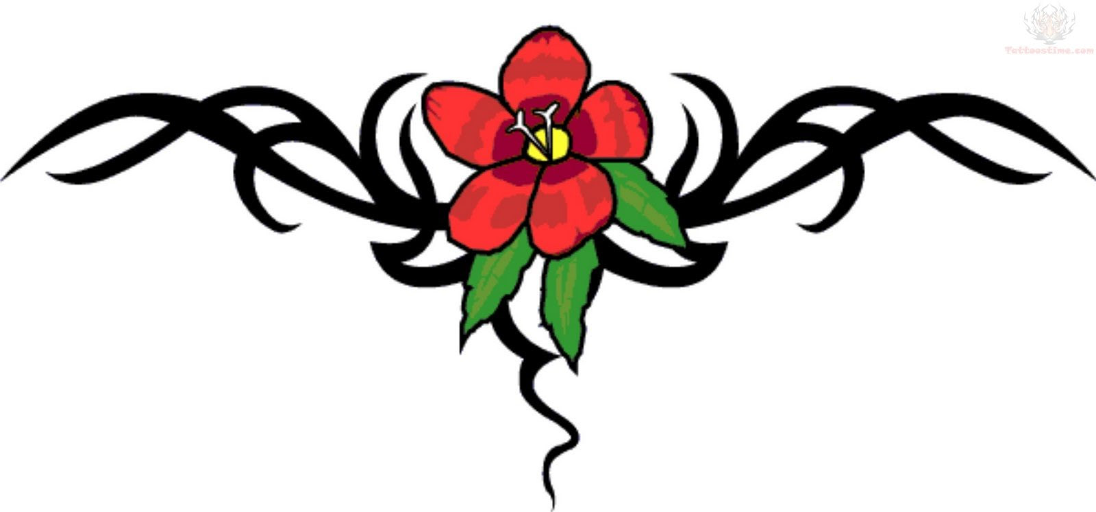 Tribal And Flower Lowerback Tattoo Design