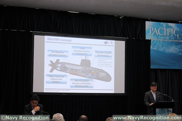At PACIFIC 2015, the international maritime exposition currently held in Sydney Australia, the Japanese Government and Industry held an industry briefing on its bid with the Soryu for the SEA1000 program. Japan has a small pavilion at the exposition with scale models of the SEA1000 proposal, a Soryu class, an Atago class Destroyer and the 20DX Frigate.