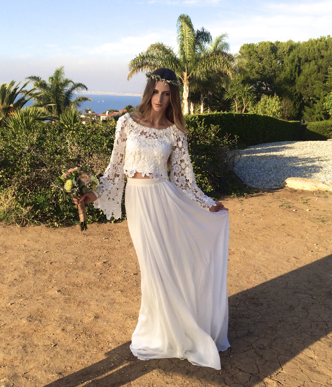 boho lace top  silk chiffon skirt   dreamers and lovers