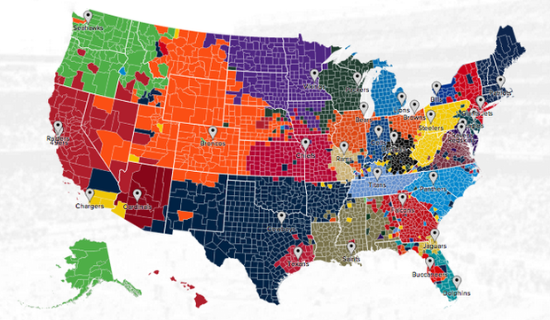 Twitter's NFL fan map shows you where teams' fans are located   cleveland.com
