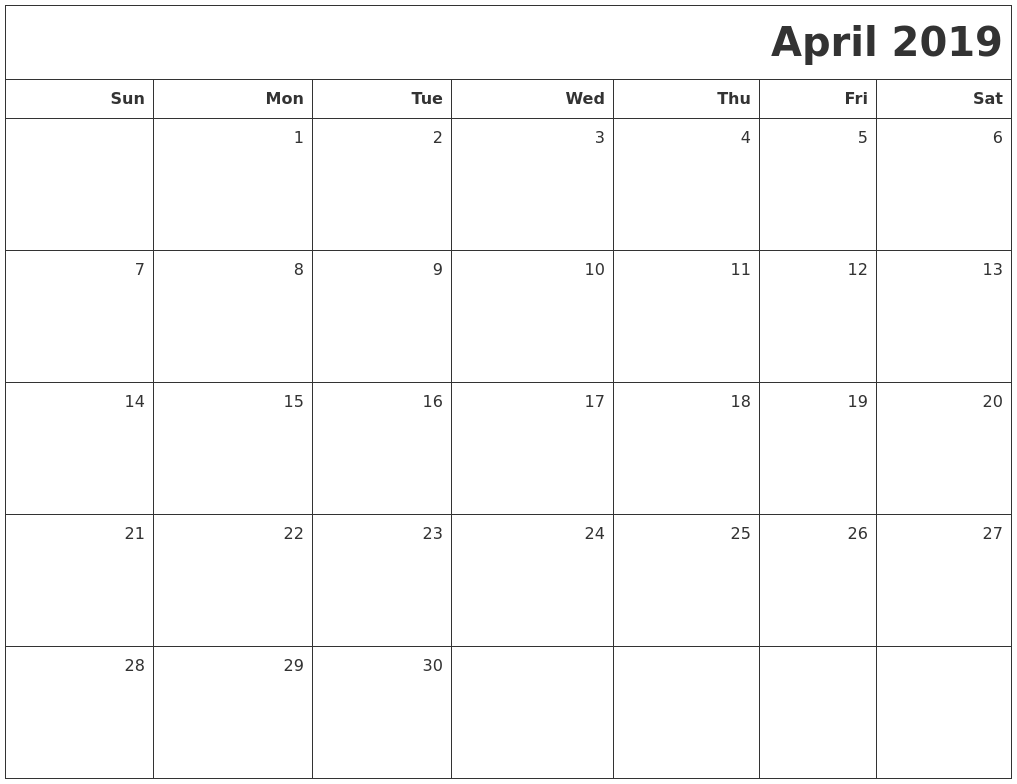 april 2019 printable blank calendar