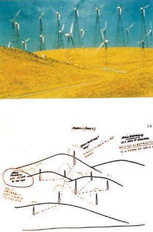 """(Top) Remote viewing target site was Livermore Valley Foothills Windmill Farm. Below is sketch by Viewer a hundred miles away, showing poles, hills, """"moving electricity in the form of a grid"""" and """"halo probably not visible to the eye,"""" at the top of the poles. Remote Viewer: Joseph McMoneagle. Trial was carried out with Dr. Edwin C. May in 1987. Graphic courtesy of Russell Targ."""