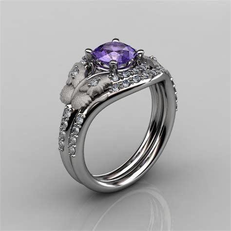 14KT White Gold Diamond Leaf and Vine Amethyst Wedding