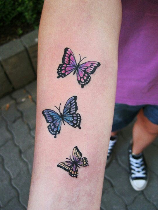 Colorful Small Butterfly Tattoo On Arm Tattoomagz