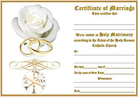 Wedding Certificate   2 rings & Rose   Catholicshop