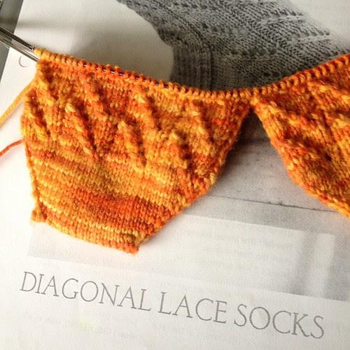 Diagonal Lace Socks by Wendy D. Johnson. Yarn is Knitpicks Stroll in Harvest Tonal. Such a simple but pretty pattern!! I am really enjoying these socks.
