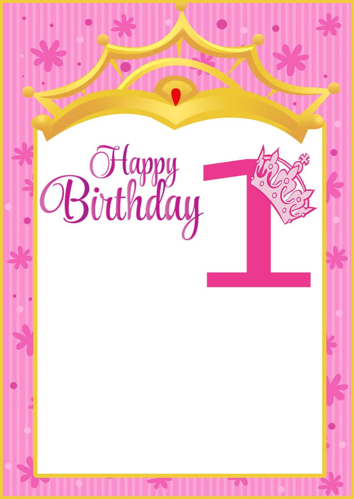 Printable First Birthday Invitation Card