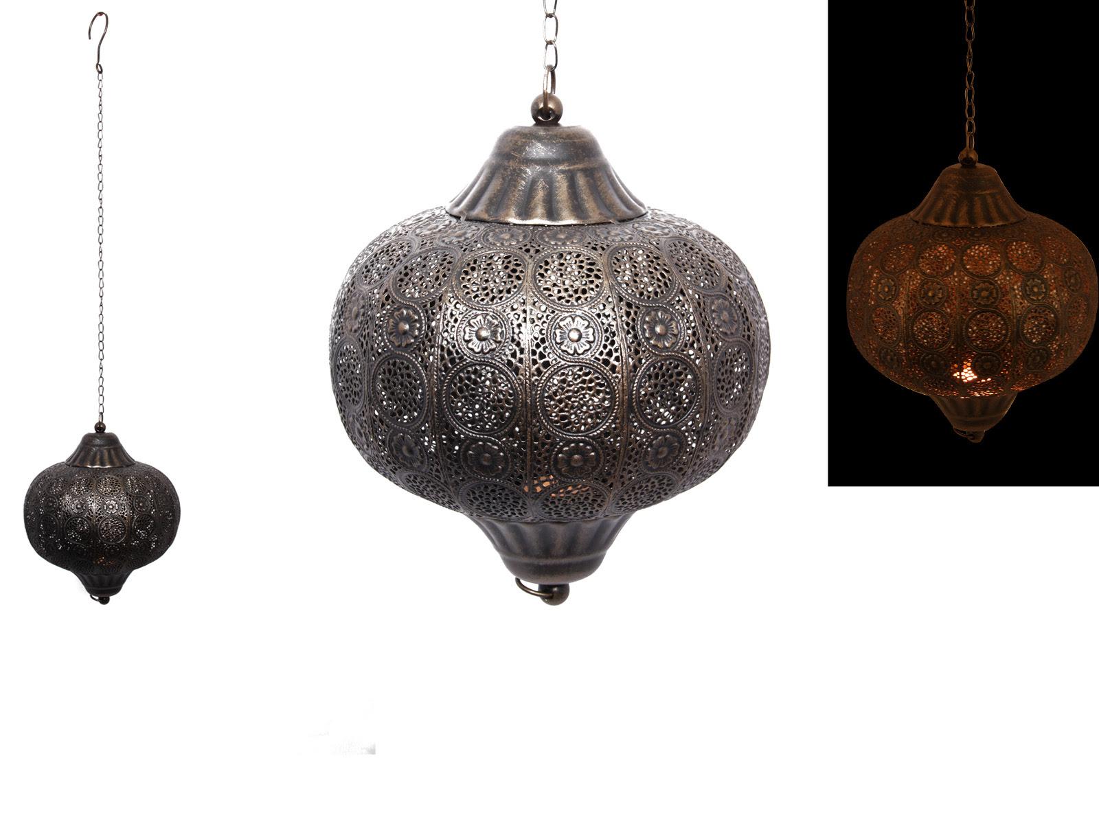 26cm Bronze Round Metal Hanging Lantern/Candle Holder ...