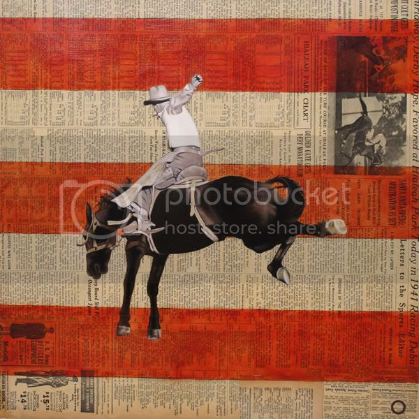 untitled cowboy/rodeo guy, 18-in. x 18-in. oil on found paper