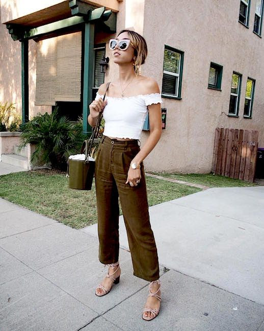 Le Fashion Blog Off The Shoulder White Cropped Shirt Neutral Brown Cropped Trousers Bucket Bag Strappy Sandals Via @shhtephs