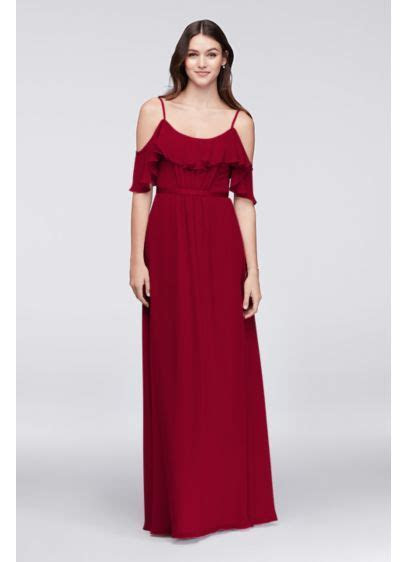 Cold Shoulder Crinkle Chiffon Bridesmaid Dress   David's