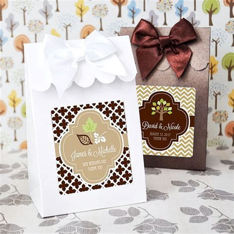 12 Pc. Personalized Fall Theme 6 x 4 Candy Favor Boxes Set