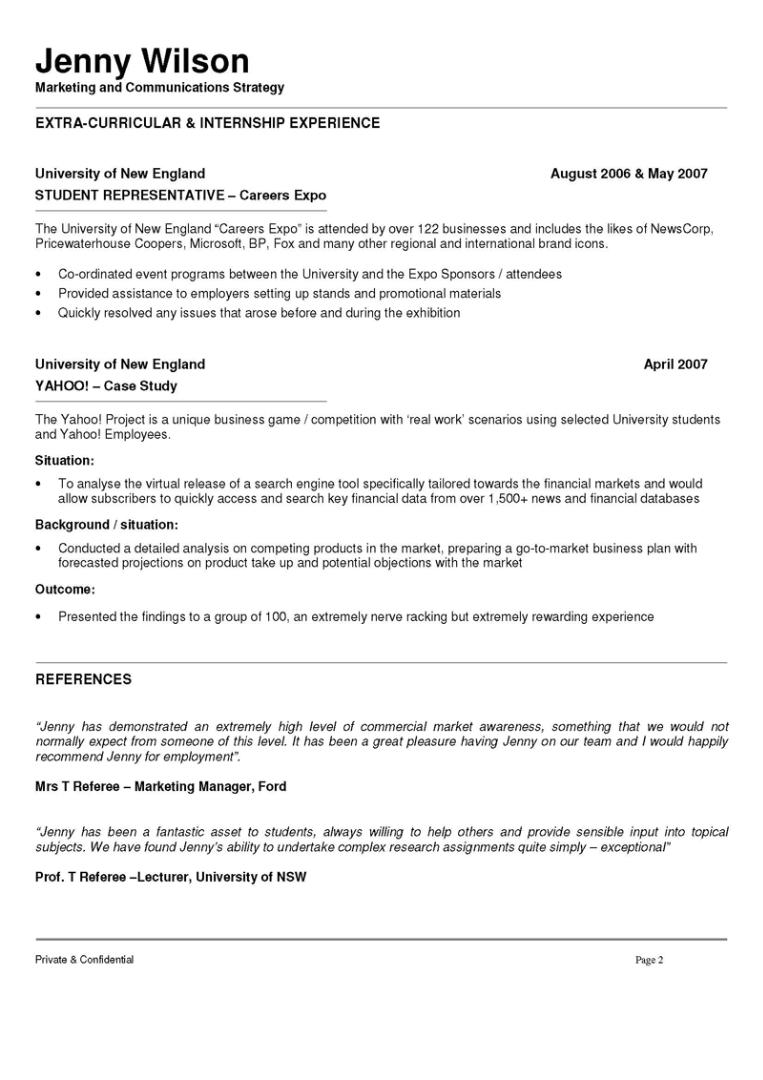 marketing and communications resume 2