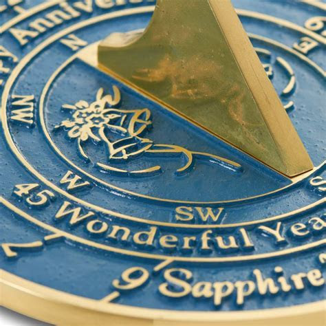 45th Sapphire Wedding Anniversary Sundial Gift For Him