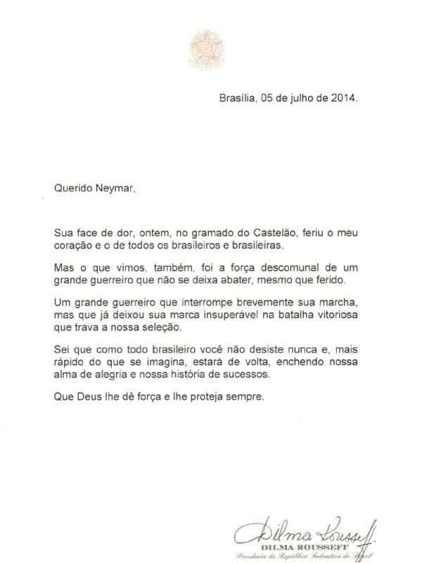 A carta enviada pela presidente ao jogador Neymar (Foto: Reprodução)