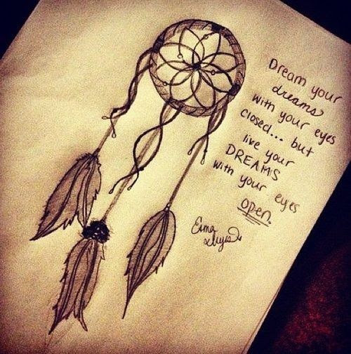 Dream Quotes And Dreamcatcher Tattoo Design