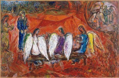 Abraham and three Angels - Marc Chagall